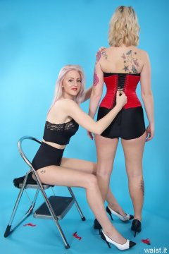 DollyBird and Sammy-Clare 2014-04-13 retro fitness shoot - girdle and corset