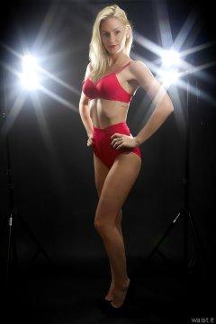 2015-06-03 DollyBird red bra and girdle