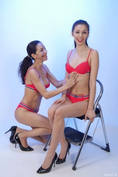 TUMMY IN! 2015-11-21 Heydi and Shannon in red bikini doing deportment exercises