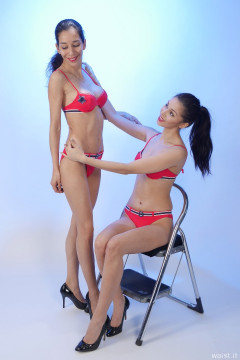 SHOULDERS BACK! 2015-11-21 Heydi and Shannon in red bikini doing deportment exercises
