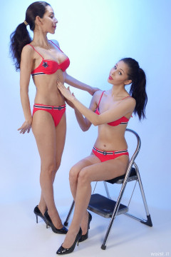 STOMACH IN! 2015-11-21 Heydi and Shannon in red bikini doing deportment exercises
