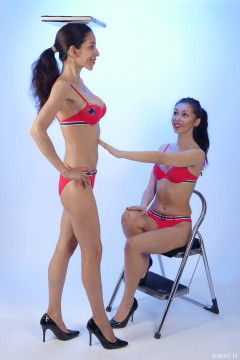 CHEST UP! STOMACH IN! 2015-11-21 Heydi and Shannon in red bikini doing deportment exercises
