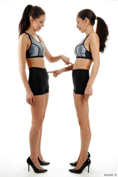 2015-11-21 Heydi and Shannon in silver support sports tops and shiny black girdles worn as hotpants - deportment exercises