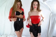 Chiara and Alison in PVC tops and black M&S roll-on girdles