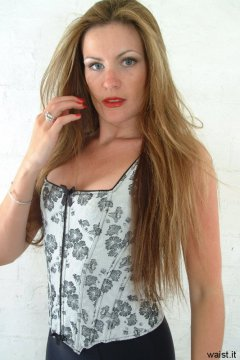 Alison modelling grey corset top
