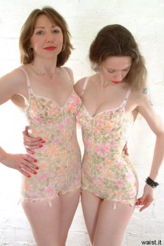 Debbie and Chiara imodelling flowery 1960's M&S firm control pantie corselets