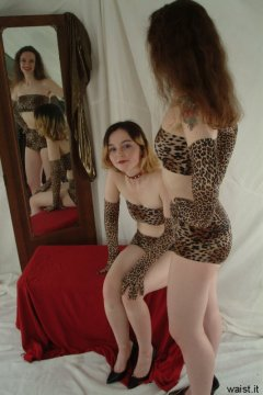 Annie and Chiara modelling retro animal print bikinis