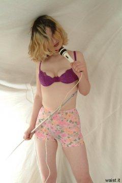 Annie models 1960s flowery M&S pantie girdle worn as hot pants