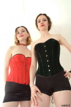 Annie and Chiara messing about in their tightly-laced corsets