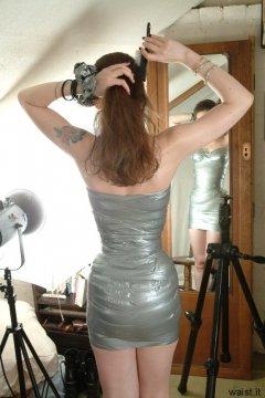 Chiara models silver gaffer tape dress