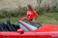 Chiara wears her Dim Up's as hot pants, in the New Forest, with red Mazda MX5