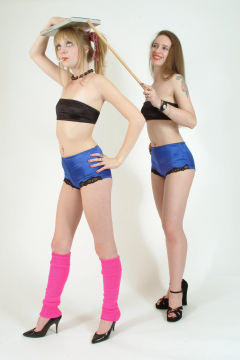 """Carlie and Chiara deportment exercises - Photo from the 2003 Zona """"Modern Girls in Girdles"""" project. Shoot #2."""