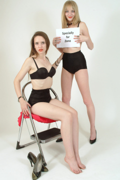 """Carlie and Chiara - Photo from the 2003 Zona """"Modern Girls in Girdles"""" project. Shoot #2."""