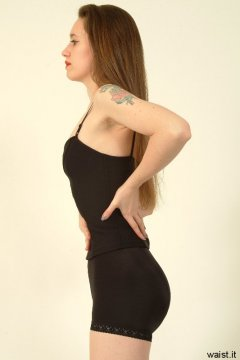 Chiara shows off her fabulous figure in a smooth shiny pantie girdle, teamed up with her own corset top