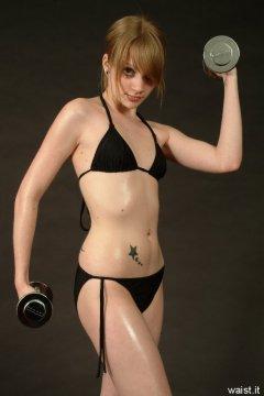 Carlie models her own black bikini