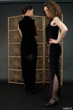 Moonlit Jane and Chiara in long black evening dresses