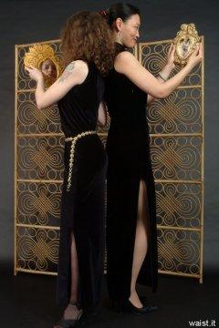Chiara and Moonlit Jane in long black evening dresses