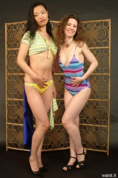Moonlit Jane and Chiara in swimsuits