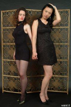 Chiara and Moonlit Jane in little black dresses
