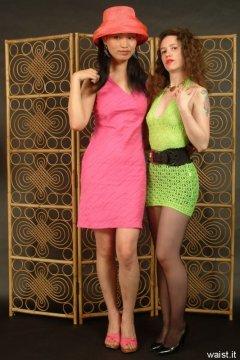 Moonlit Jane and Chiara in minidresses