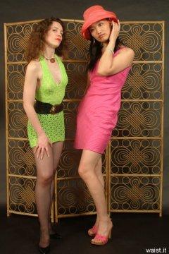 Chiara and Moonlit Jane in minidresses