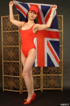 """Moonlit Jane in red """"Baywatch"""" style one piece swimsuit"""