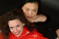 Chiara and Moonlit Jane in Chinese pocket girdles worn as hotpants