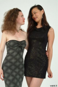 Chiara and Moonlit Jane model evening wear