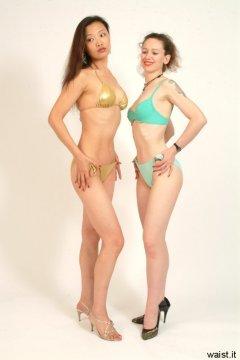 Moonlit Jane and Chiara show off their fabulous figures in bikinis