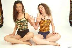 Moonlit Jane and Chiara in tankini tops and vintage style pantie girdles worn as hotpants