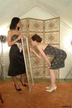 Vicki and Chiara modelling their dresses