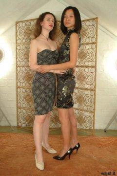 Chiara and Vicki modelling their dresses