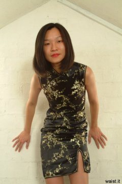Vicki modelling a traditional Cheongsam