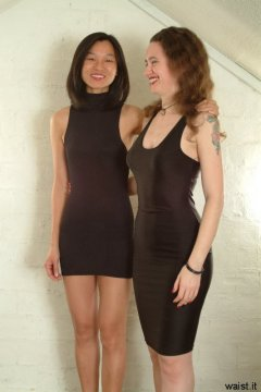 Vicki and Chiara modelling little black lycra dresses