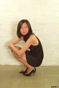Vicki modelling little black lycra dress