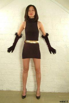 Vicki modelling little black lycra dress and opera gloves