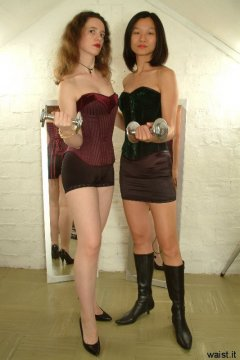 Chiara and Vicki in corsets and control bottoms worn as hot pants
