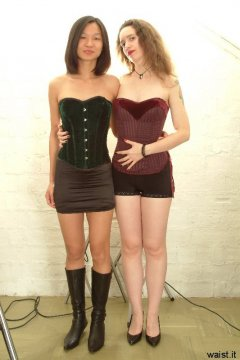Vicki and Chiara in corsets and control bottoms worn as hot pants