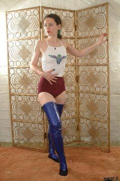 "Photo from Chiara's ""T-shirt and girdle"" retro fitness shoot."