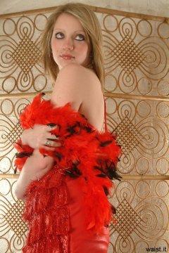 Carlie in red tinsel dress