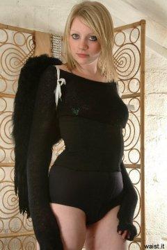 Carlie in smooth black pantie girdle worn as hotpants