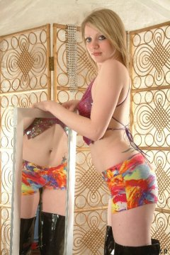 Carlie iin butterfly dance top and lycra hipster hotpants