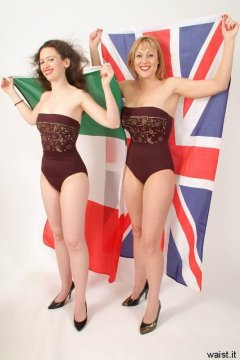 Chiara and Nikki in tight maroon bandeau one-piece swimsuits