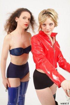 Chiara and Carlie in vintage-style pantie girdles, worn as figure-flattering hotpants