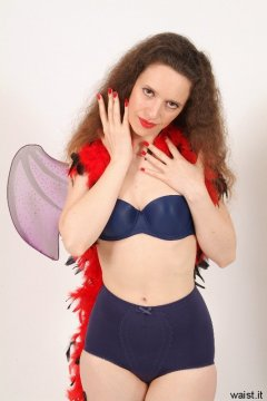 Chiara in matching blue bra and vintage style pantie girdle
