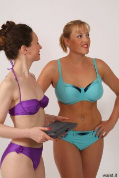 Chiara and Nikki in bikinis ready for their workout