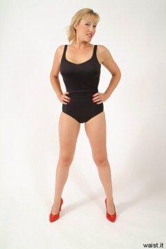 Nikki black retro control swimsuit