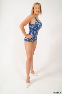 Nikki blue and cream skirted one-piece swimsuit
