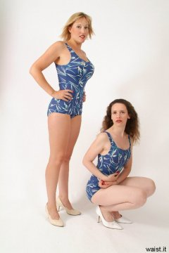 Nikki and Chiara blue and cream skirted one-piece swimsuits