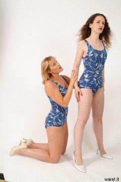 Nikki checks Chiara's body alignment